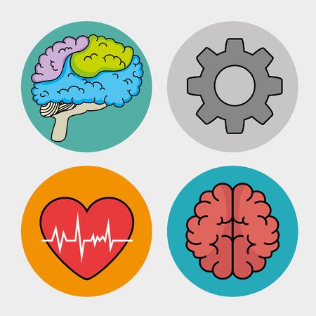 set van geestelijke gezondheid en medische iconen vector illustratie grafisch ontwerp