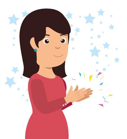 Mujer sonriente aplaudiendo alegre ilustración vectorial de dibujos animados diseño gráfico