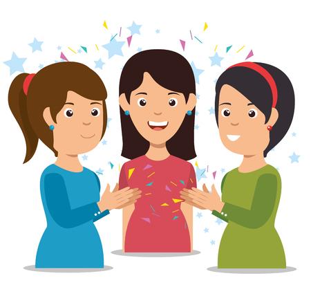 glimlachende vrouwen die het vrolijke grafische ontwerp van de beeldverhaal vectorillustratie slaan