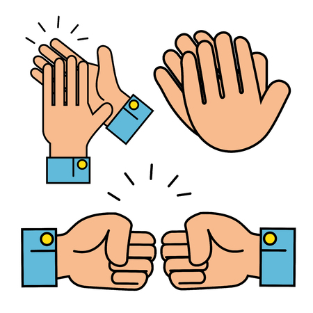 Human hands gestures clapping, and fist bump graphic design vector illustration