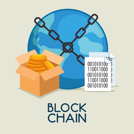 block chain tecnology concept vector illustration graphic design