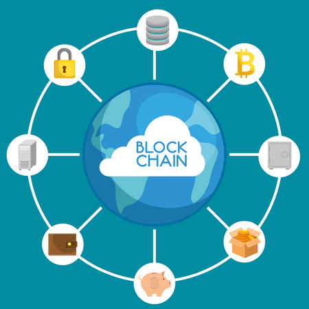 Block chain technology concept vector illustration graphic design Vettoriali