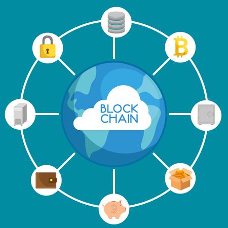 Blokowego łańcuchu technologii pojęcia wektorowy ilustracyjny graficzny projekt