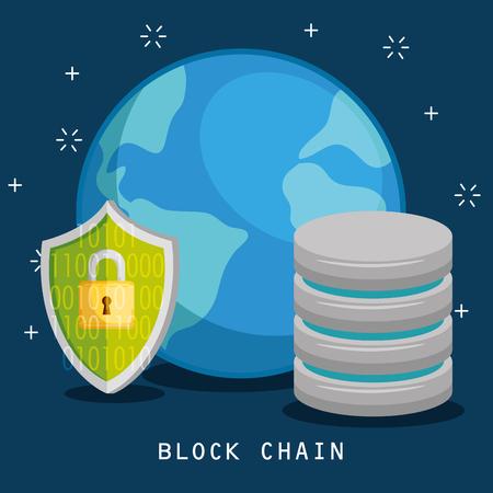 Block chain technology concept vector illustration graphic design 向量圖像