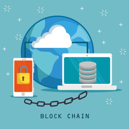 Block chain technology concept vector illustration graphic design Stock Illustratie