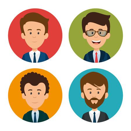 プロフェッショナルなビジネス人々 の顔ベクトル イラスト グラフィック デザイン一式  イラスト・ベクター素材