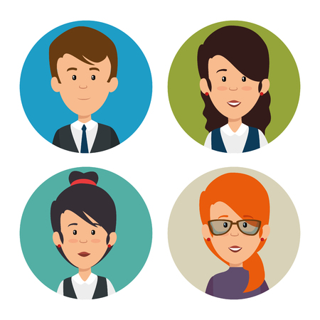 set of profesional business people faces vector illustration graphic design