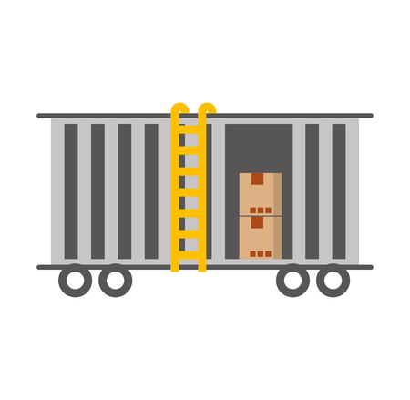 freight train cargo car container and boxes logistics transport design element vector illustration Imagens - 87722415