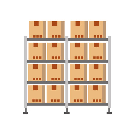 shelf with carton boxes warehouse storage cardboard cargo vector illustration Stock Vector - 87722420