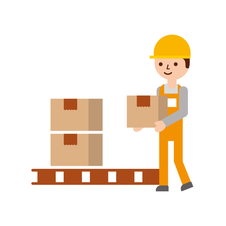 logistic delivery man character holding parcel storage vector illustration