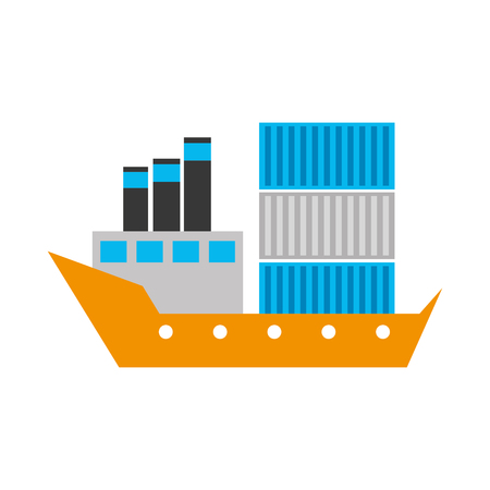 sea transportation logistic freight shipping cargo ship vector illustration Stock Vector - 87724102
