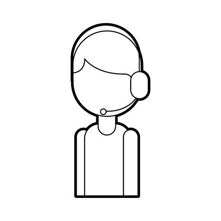 Operatore di telefonia supporto supporto logistico in illustrazione vettoriale icona di auricolare Archivio Fotografico - 87724122
