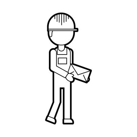 delivery man standing and holding envelope courier in uniform at work character vector illustration Ilustração