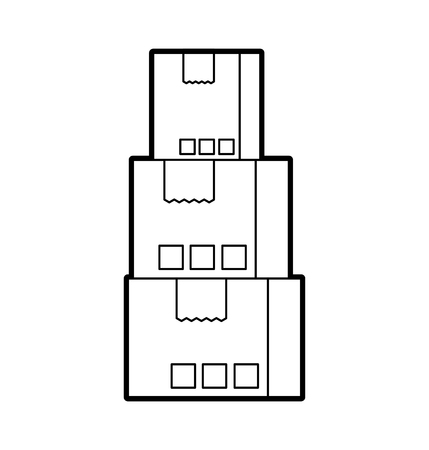 積層段ボール箱商品パッケージ配信概念ベクトル図を配布