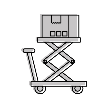 プラットフォームのストレージのベクトル図にロジスティックの段ボール箱