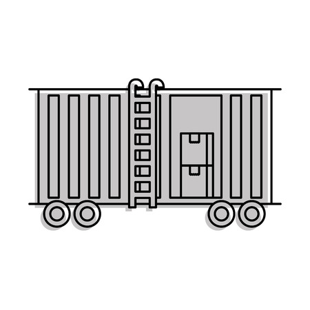 freight train cargo car container and boxes logistics transport design element