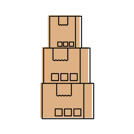 stacked cardboard boxes goods package delivery shipping concept vector illustration
