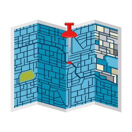 Papieren kaart met pin locatie vector illustratie ontwerp