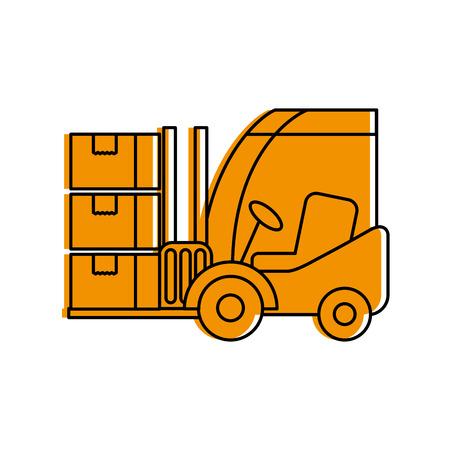 logistic forklift cardboard boxes transport cargo vector illustration