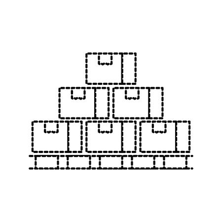 木製パレットのボックスを閉じたカートン配送包装壊れやすいベクトル図
