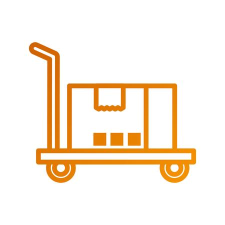 hand truck with cardboard box storage vector illustration