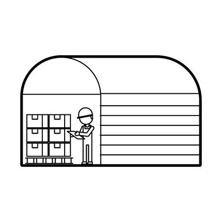 ボックス ディスプレイ ラックの倉庫作業員ベクトル イラスト