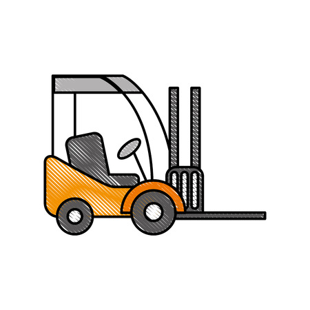 forklift delivery truck cargo vehicle vector illustration