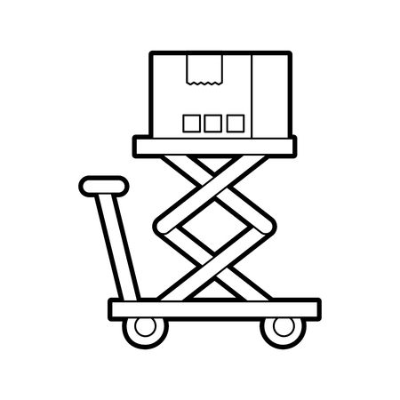 logistic cardboard box over platform storage vector illustration