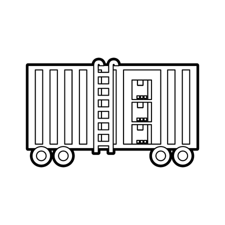 goederentrein cargo car container en dozen logistiek transport ontwerpelement Stock Illustratie