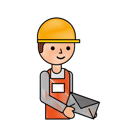 delivery man standing and holding envelope courier in uniform at work character vector illustration Illustration
