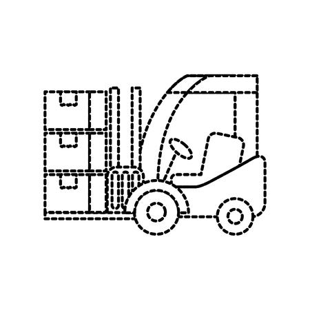 Logistique chariot élévateur boîtes transport fret illustration vectorielle Banque d'images - 87724981