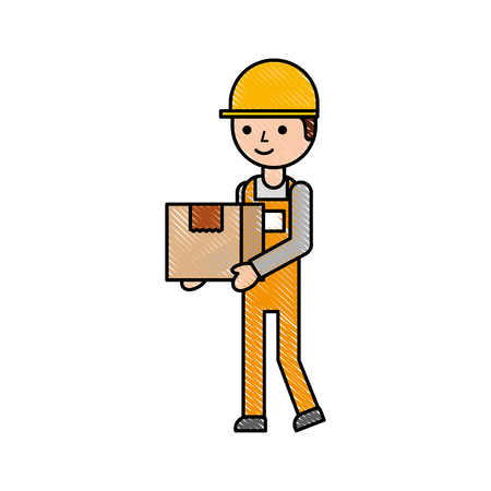 logistic company courier delivery man character holding parcel in hands vector illustration Stock Vector - 87724993