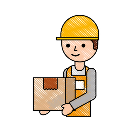 logistic company courier delivery man character holding parcel in hands vector illustration Stock Vector - 87724840