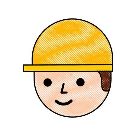logistic worker man cartoon with helmet vector illustration Ilustração