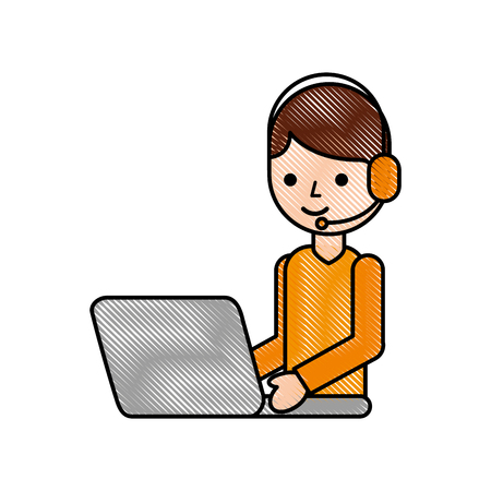 operator call center headset working laptop vector illustration