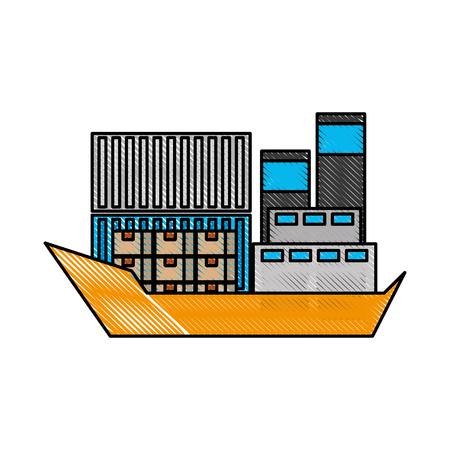 Transport maritime fret logistique cargo cargo illustration vectorielle Banque d'images - 87725799