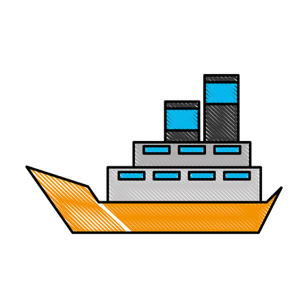 sea boat transport delivery vehicle logistic vector illustration