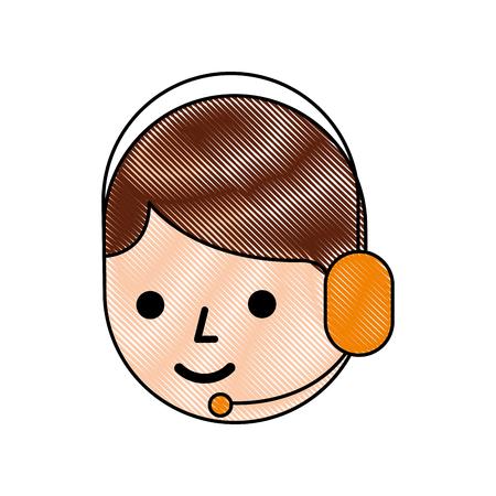 cartoon operator call center using headphones microphone vector illustration