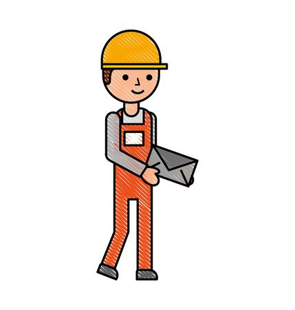 立って押し続ける作業文字ベクトル図で封筒宅配便の配達人  イラスト・ベクター素材