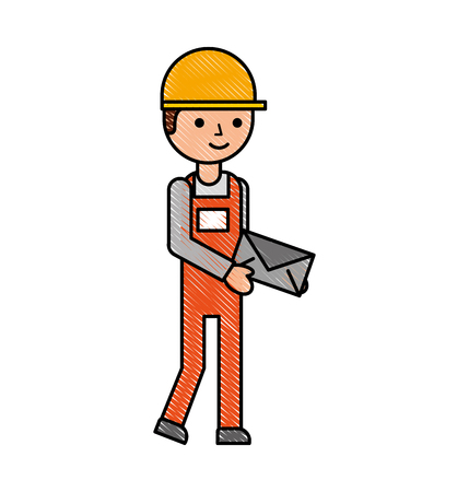 delivery man standing and holding envelope courier in uniform at work character vector illustration Ilustracja