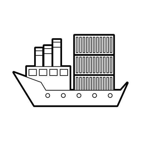 sea transportation logistic freight shipping cargo ship vector illustration Stock Vector - 87726740