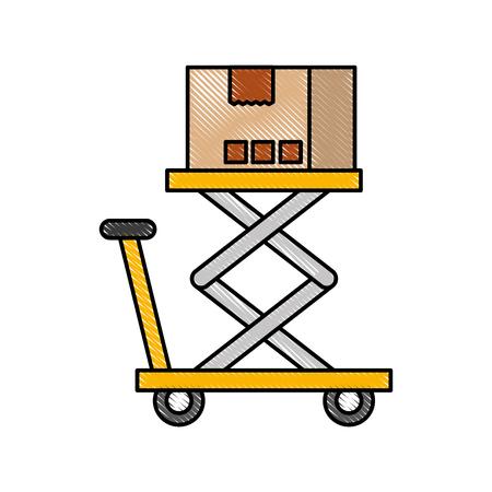 プラットフォームのストレージのベクトル図にロジスティックの段ボール箱 写真素材 - 87729276