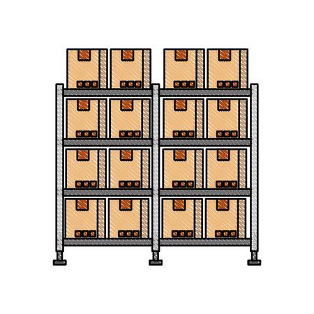 段ボール箱と棚倉庫保管ダン ボール貨物ベクトル図