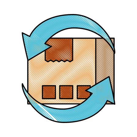 vrachtvervoer rond de wereld kartonnen doos met pijlen vector illustratie