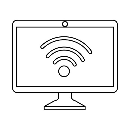computer display with wifi signal vector illustration design Illustration