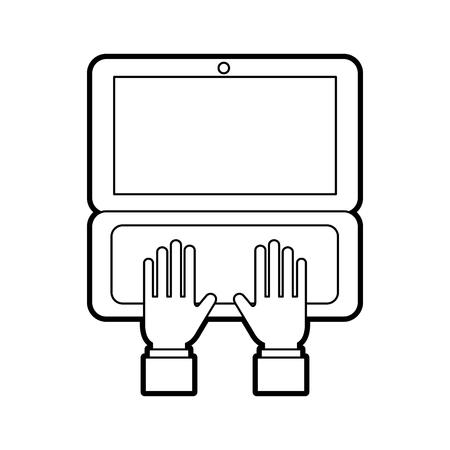 ノート パソコン注文オンライン配信ロジスティック ベクトル図での作業手ビジネス  イラスト・ベクター素材