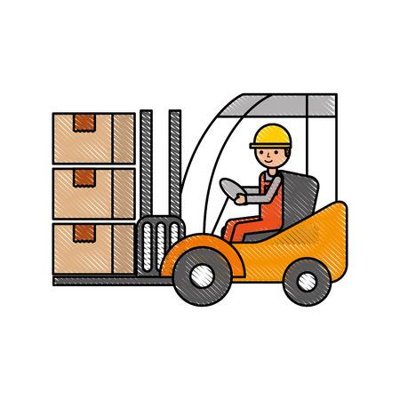 warehouse worker loading cardboard boxes forklift driver at work vector illustration Illustration