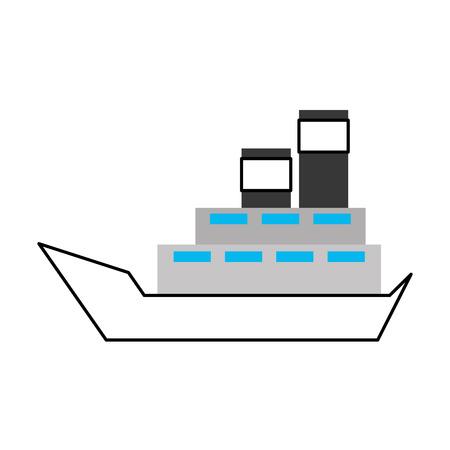 바다 배 전송 배달 차량 logistic 벡터 일러스트 레이션 일러스트