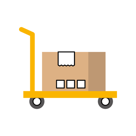 hand truck with cardboard box storage vector illustration