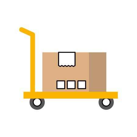 hand vrachtwagen met kartonnen doos opslag vectorillustratie